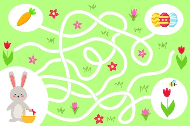 就学前の子供のための迷路ゲーム。かわいいバニーがイースターエッグへの正しい道を見つけるのを手伝ってください。春の花とニンジン。ベクトルイラスト。