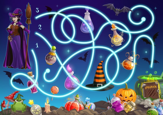 Maze game, halloween puzzle labyrinth, kids cartoon fun play, vector. halloween maze, find way or path for witch to cauldron, labyrinth with pumpkins, skulls and ghost monsters, treats and bats