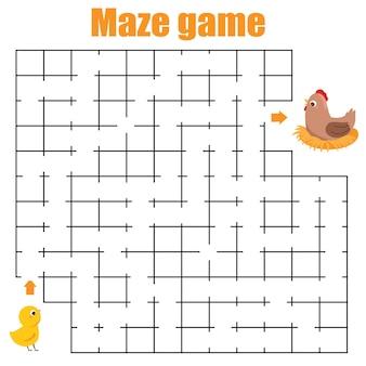 迷路ゲーム。鶏が鶏を見つけるのを手伝ってください。子供と子供のための活動