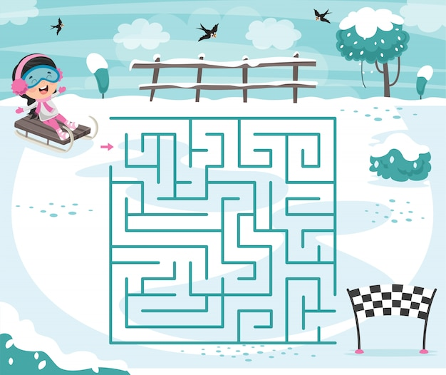 Maze game illustration for children