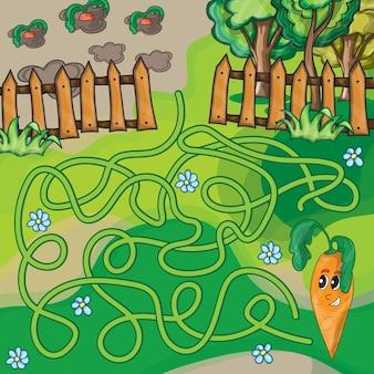 Maze game for kids - garden and carrot - vector