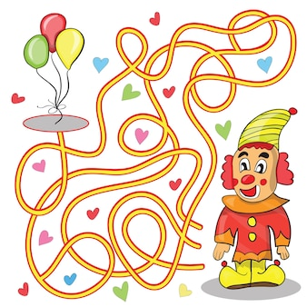 Maze game for kids help the clown to get to the balloons