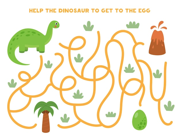 Maze game for kids. help dinosaur to get to the green egg. worksheet for children.