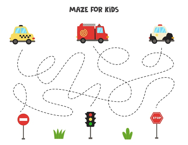 Maze game for kids. help transportation means get to the traffic signs. worksheet for children.