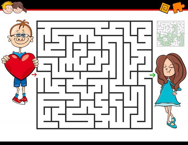 Maze game for kids with boy in love and girl