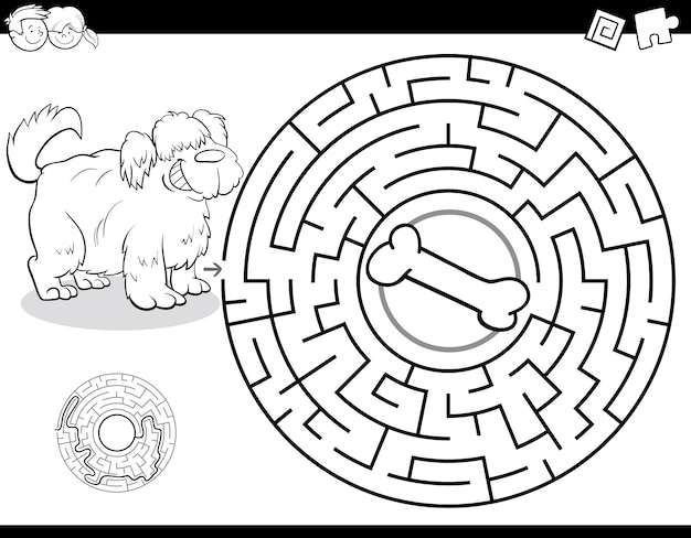 Maze game for kids with dog and bone color book