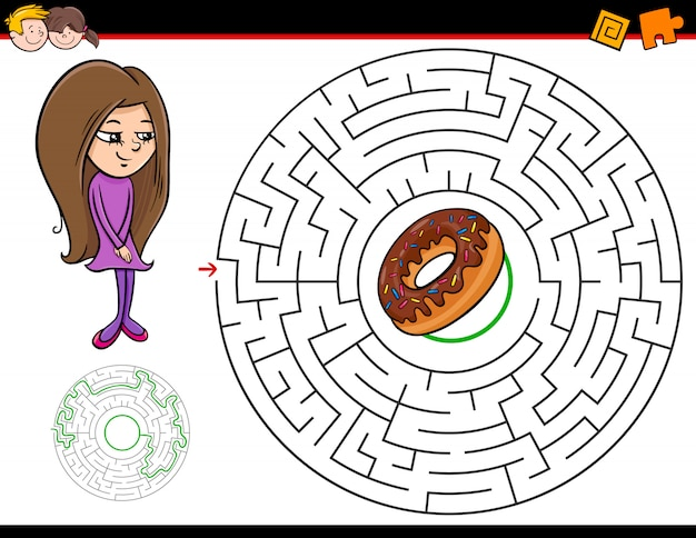 Maze game for kids with girl and doughnut