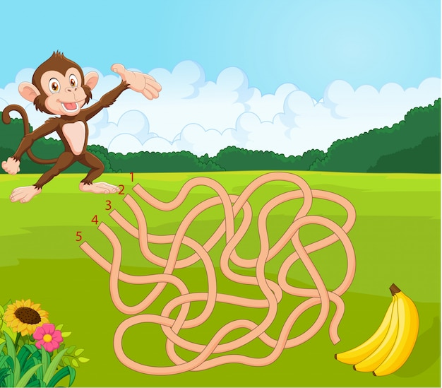 Maze game for kids with monkey and banana