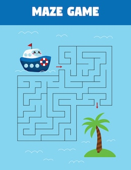 Maze game for preschool kids. help the ship find right way to island.