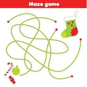 迷路ゲーム。靴下に贈り物を入れてください。子供と子供のためのクリスマスと年末年始の迷宮活動