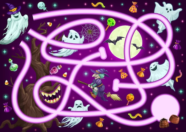 Maze game puzzle, halloween cartoon labyrinth, vector kids and children find way or path fun play. halloween maze or labyrinth with witches, skulls and ghost monsters to find way to candy treats