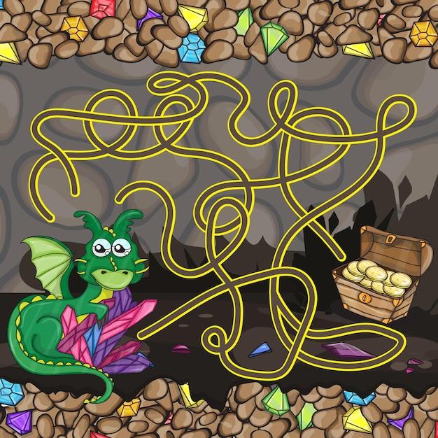 ドラゴンと宝物の迷路ゲームテンプレート
