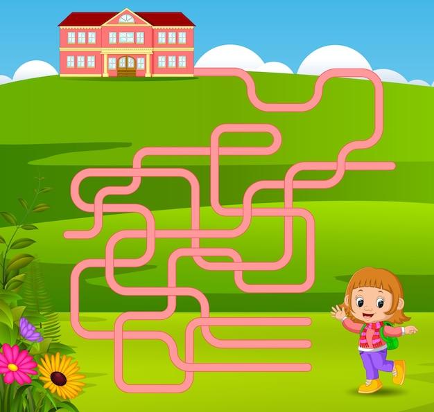 女の子と迷路のゲームのテンプレートは、学校に行く