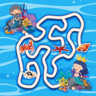 Maze game template with mermaids under the sea
