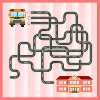 学校バスで迷路ゲームのテンプレート
