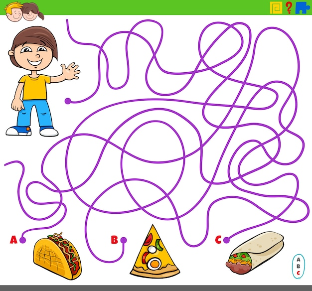 Maze game with boy and food objects
