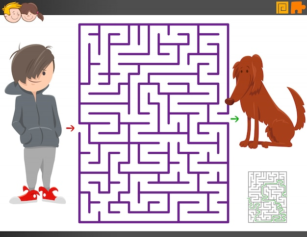 Maze game with cartoon boy and dog character