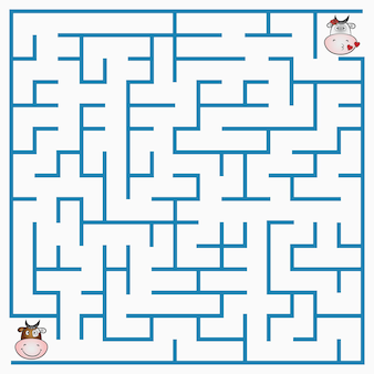 Maze game with cow for children, geometric labyrinth with entry and exit. vector illustration.
