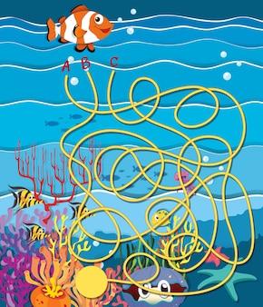 Лабиринт с рыбой и коралловым рифом