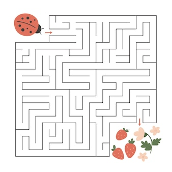 Maze game with ladybug and spring flowers