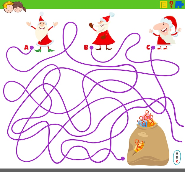 Maze game with santa claus and presents