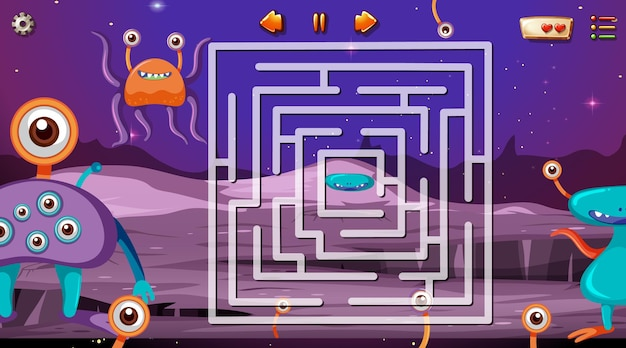 宇宙テーマテンプレートの迷路ゲーム