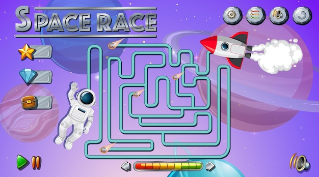 Maze game with space theme template