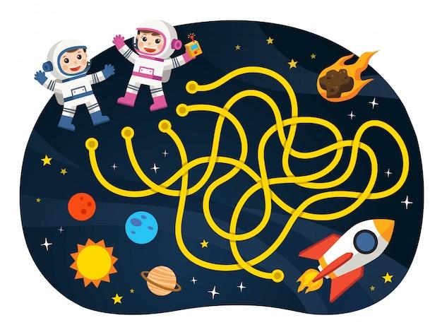 Игры-лабиринты находят путь для космонавта с коллекцией космических и космических кораблей. иллюстрации. космические сцены.