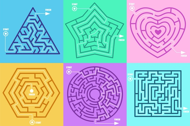 Maze games in form of different figures illustration set. circle, heart, square, star, hexagon, solved puzzle with correctly marked entrance and exit. labyrinth, riddle, mental activity concep