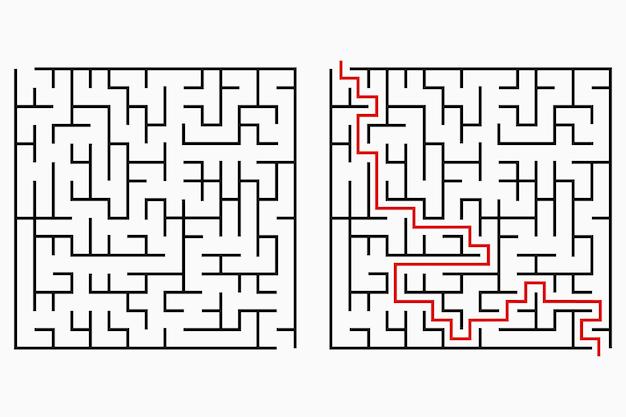 Лабиринт, геометрический лабиринт с входом и выходом. векторная иллюстрация.