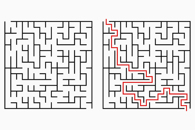 Maze, geometric labyrinth with entry and exit. vector illustration.