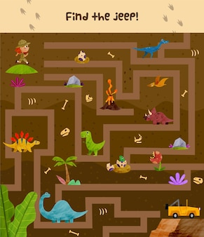 Maze illustration for kids with explorer and dinosaurs