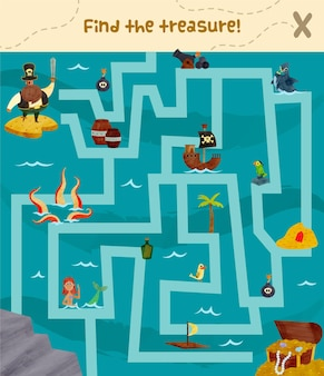Maze illustration for kids with pirates and treasure