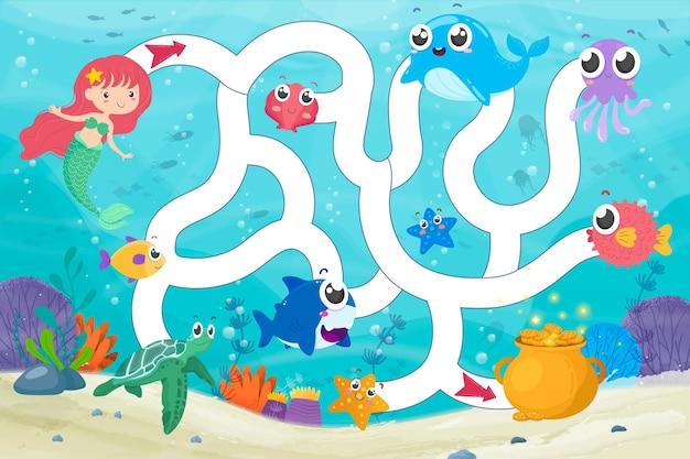 Illustrazione del labirinto per bambini