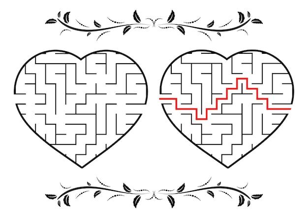 Лабиринт в форме сердечка учебный лист