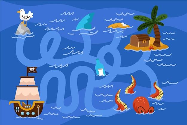 Labirinto per bambini illustrazione Vettore gratuito