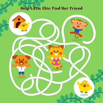 Maze for kids with cute little animals