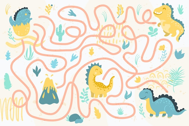 Maze for kids with dinosaurs