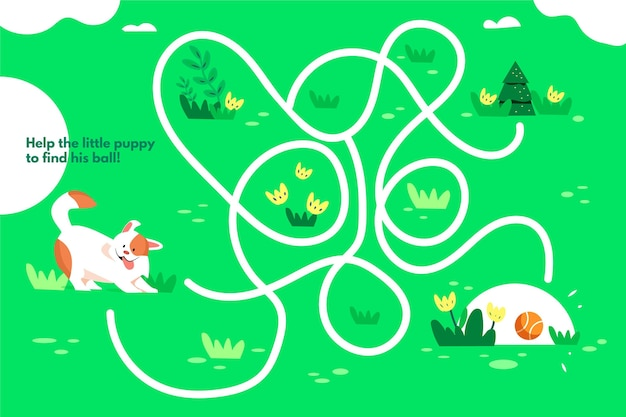 Labirinto per bambini con illustrazione del cane