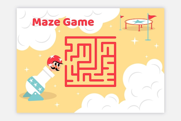 Maze for kids with illustrations