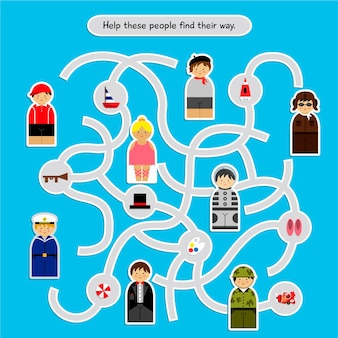 Labirinto per bambini con illustrazioni di persone