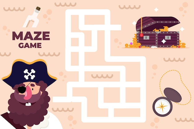 Maze for kids with pirate and treasure