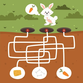 Maze for kids with rabbit and food