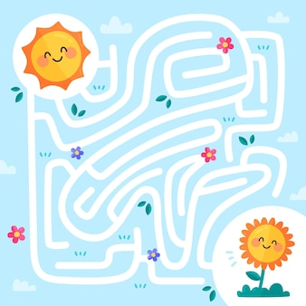 Maze for kids with sun and plant