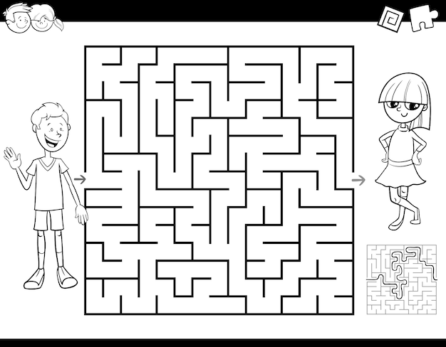 Maze labyrinth activity game for kids