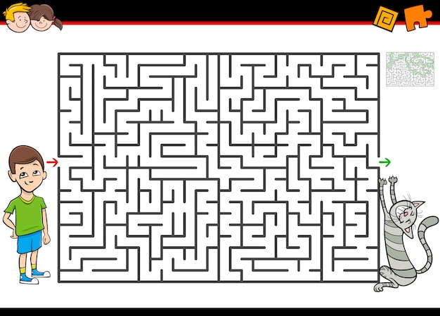 Maze or labyrinth activity game with boy and cat