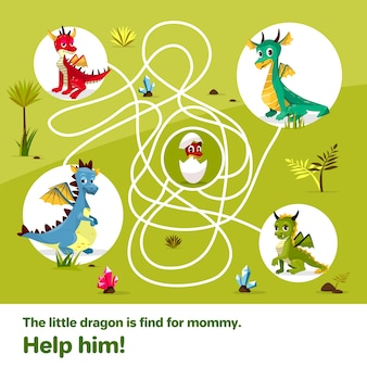 Maze labyrinth children game. cartoon dragons, help find way to egg