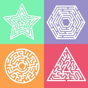 子供のための迷路迷宮ゲーム。六角形、星、円、三角形の形をした迷路の論理の難問。