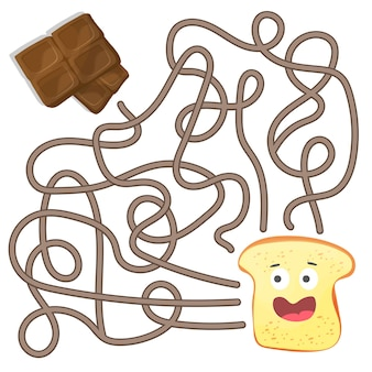 Maze or labyrinth game for preschool children. puzzle - help toast to find right way