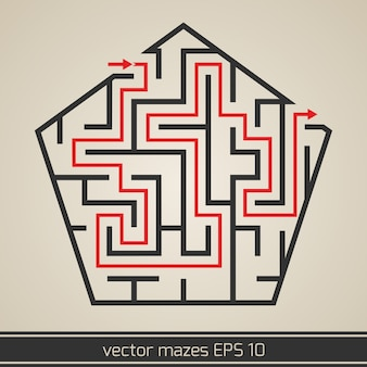 Maze labyrinth with solution
